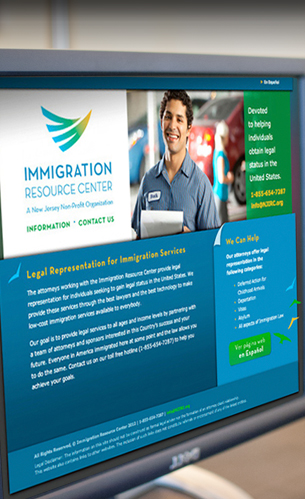 immigration resource center website, logo and branding design