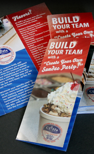 cliffs ice cream parlor brochure design