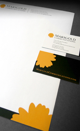 marigold branding, business cards, stationery and logo